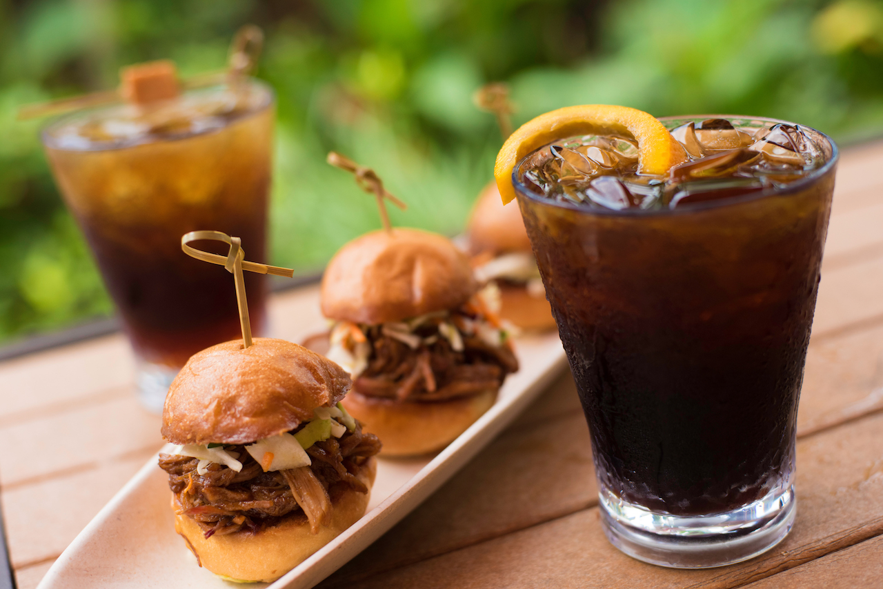 Coffee Beverages and Kalua Pork Sliders at Oasis Bar & Grill at Disney's Polynesian Village Resort