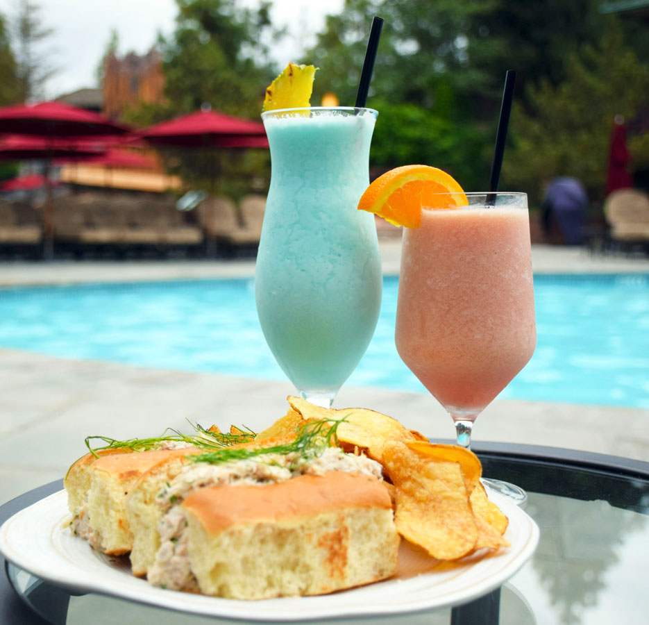 Drinks and snacks at the pool bar at Disney's Grand Californian Hotel & Spa