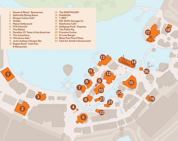 Disney Springs Brews & BBQ Map