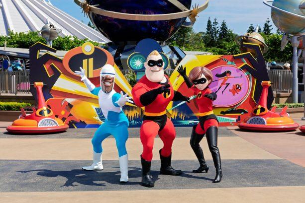 Mr. and Mrs. Incredible and Frozone at Hong Kong Disneyland