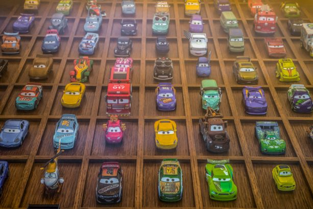 """Cars""-themed table in Lamplight Lounge at Disney California Adventure park"