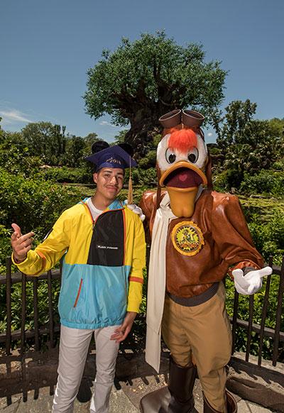 Marcus Scribner with Launchpad McQuack, Walt Disney World Resort