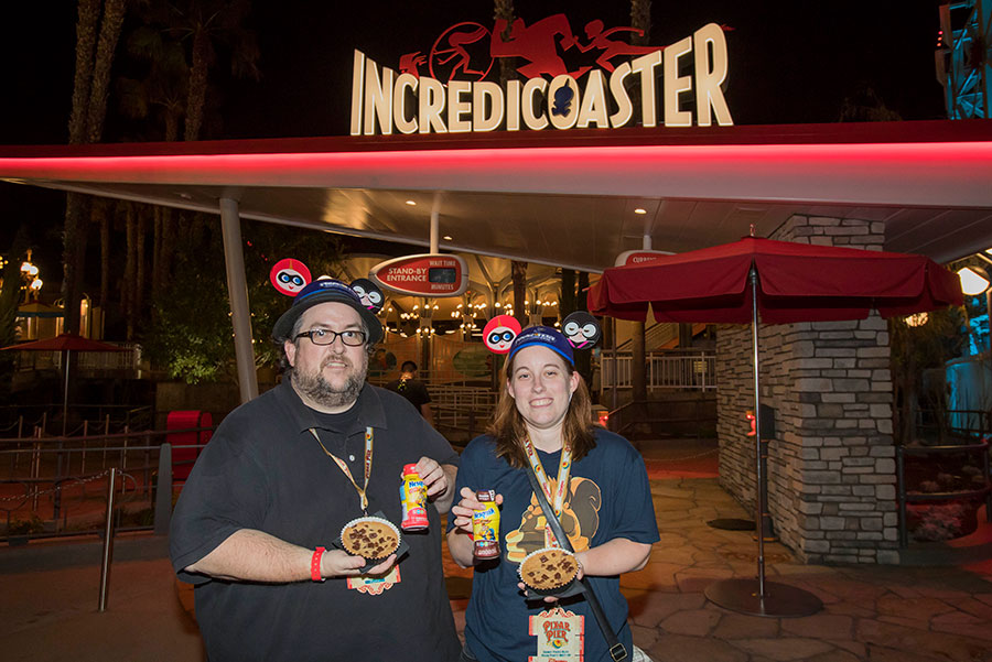 Disney Parks Blog fans enjoying yummy bites in front of the Incredicoaster