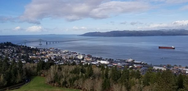 Scenic view of Astoria, Oregon from atop the Astoria Column