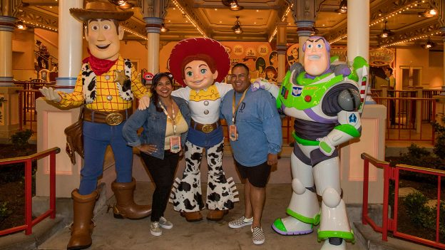 Disney Parks Blog fans post with Toy Story characters Woody, Jessie, and Buzz