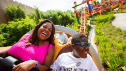 Sherri Shepherd and her son Jeffrey ride Slinky Dog Dash in Toy Story Land