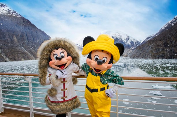 Mickey and Minnie Mouse aboard the Disney Cruise Line to Alaska