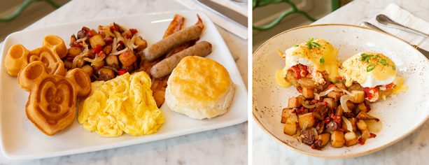 Breakfast Entrees at The Plaza Restaurant at Magic Kingdom Park