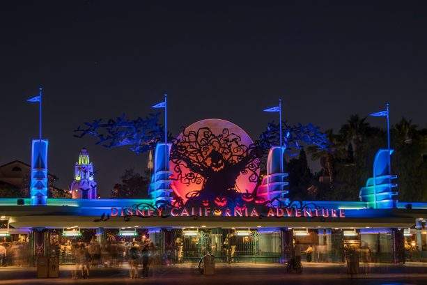 Oogie Boogie looming over Disney California Adventure park's entrance marquee