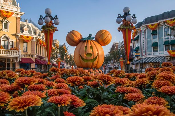 Mickey Mouse jack-o-lantern on Main Street, U.S.A. in Disneyland park