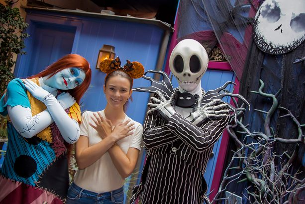 Jack Skellington and Sally in New Orleans Square near Haunted Mansion Holiday in Disneyland park