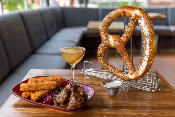 Bavarian Roasted Pork Shanks, Air Pirate's Pretzels, and Autumn Smash at Jock Lindsey's Hangar Bar for WonderFall Flavors at Disney Springs