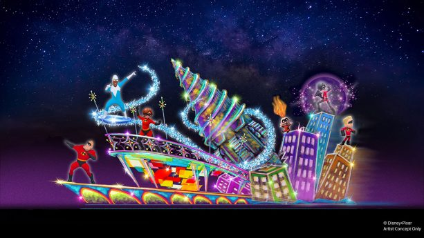 New Incredibles Float Joining the 'Paint the Night' Parade at Disney California Adventure Park