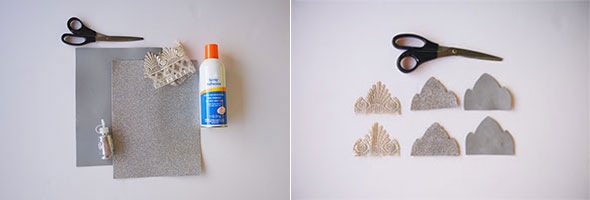 Supplies including foam, lace, scissors, adhesive and glue. Lace and foam cut into crown shapes with scissors.