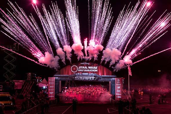 Star Wars Half Marathon Start Line with Fireworks