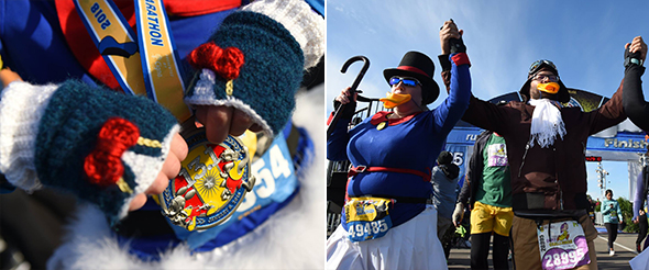 Women wearing Donald Duck knit gloves. Two adults in Scrooge McDuck and Launchpad McQuack outfits