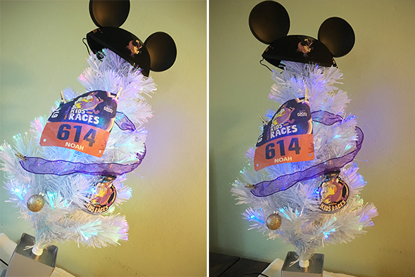 White Christmas tree with runDisney Kids Race Bib, Medal Ornament and Ear Hat.