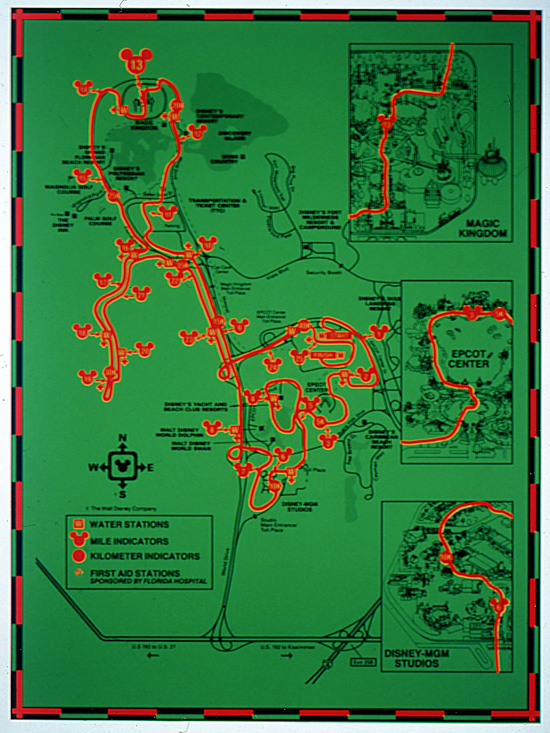 Original Walt Disney World Marathon Course Map from 1994