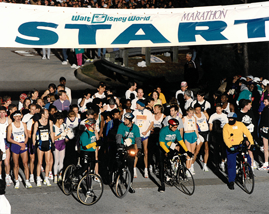 Runners prepare for the first Walt Disney World Marathon in 1994