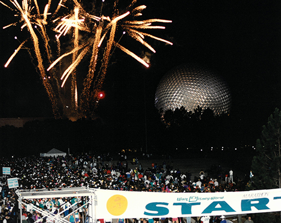 Fireworks at the start of the Walt Disney World Marathon in 1994