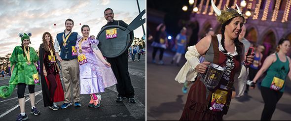 Tangled themed group costume. Woman running in Tangled costume