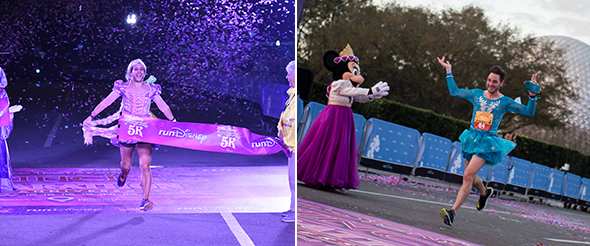 5K Finisher Rapunzel costume. Male in Frozen dress at finish line