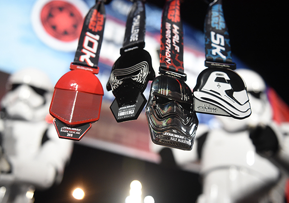 Star Wars Half Marathon – The Dark Side medals hanging.