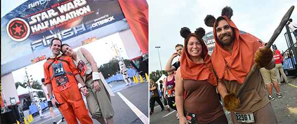 Couple in Star Wars outfits at finish line. - Couple in matching Ewok outfits at finish line.