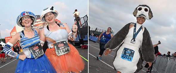 Two woman as R2-D2 and C3-PO at finish line. - Woman in Porg outfit at finish line.