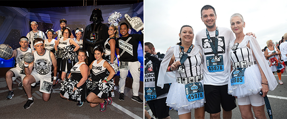 Group in coordinating Star Wars outfits with Darth Vader. - Group in coordinating Storm Trooper outfits at finish line.