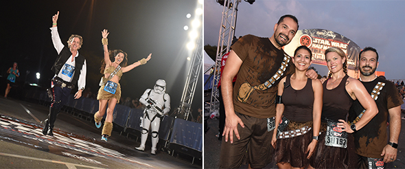 Couple in coordinating Star Wars outfits crossing finish line. - Group in matching Wookiee outfits at finish line.