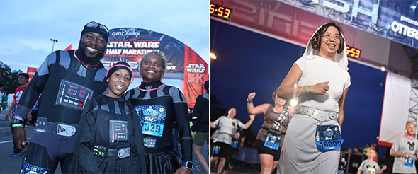 Family in matching Darth Vader outfits at finish line. - Woman in Princess Leia outfit crossing finish line.