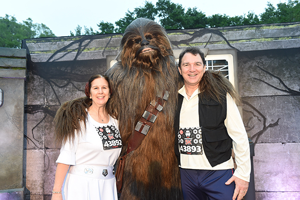 adult man in Han Solo costume with Chewbacca