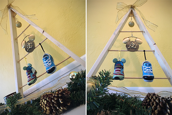 Wooden tree with runDisney ornaments.