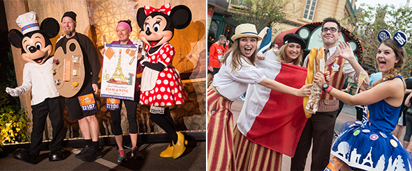 Runners with Mickey & Minnie and Cast in themed costumes during Disney Wine & Dine Half Marathon