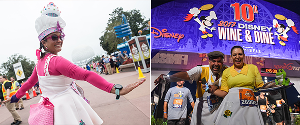 Runners dressed as favorite foods or servers at Disney Wine & Dine Half Marathon Weekend
