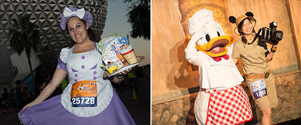 Runners posed in costume on course During Disney Wine & Dine Half Marathon Weekend