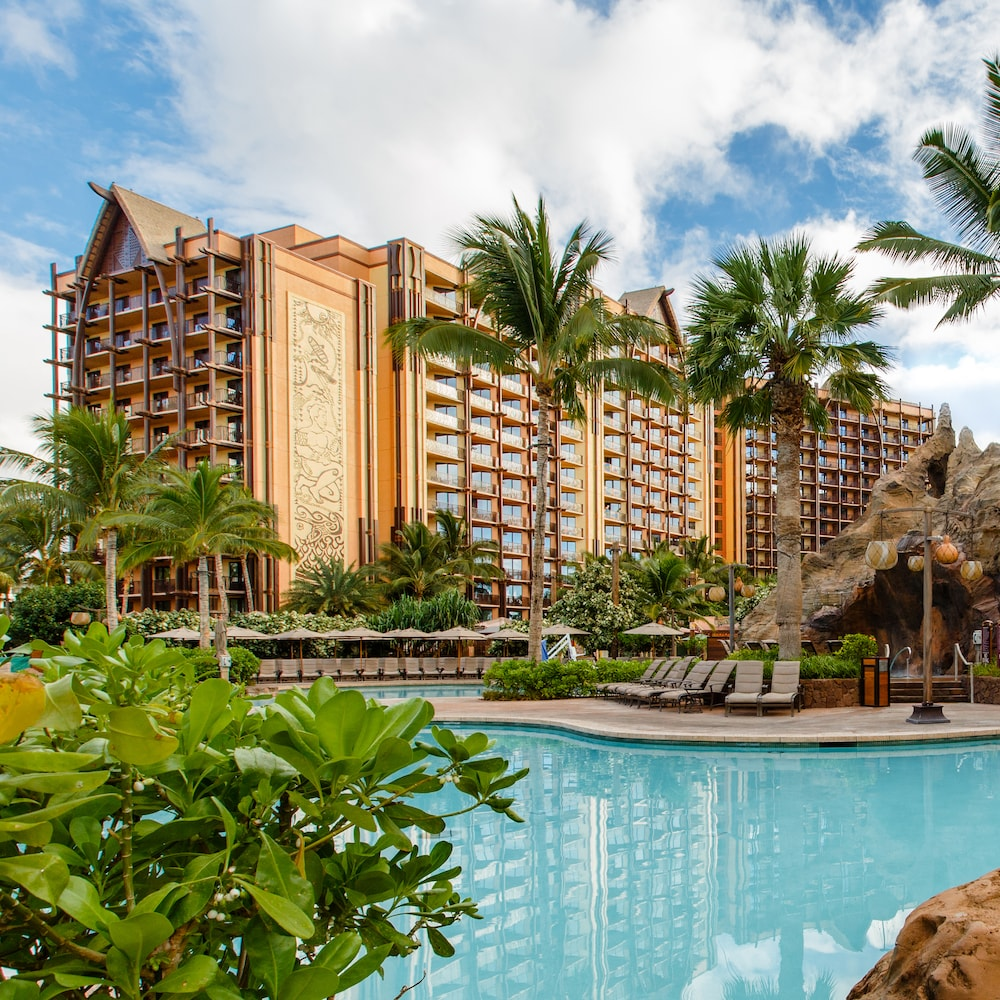 The two towers of Aulani Resort with Ko Olina Beach in the foreground