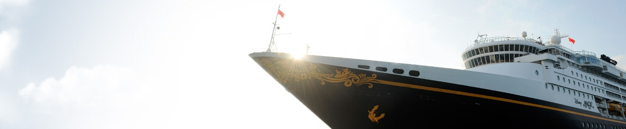 Sunshine highlights the bow of the Disney Magic cruise ship