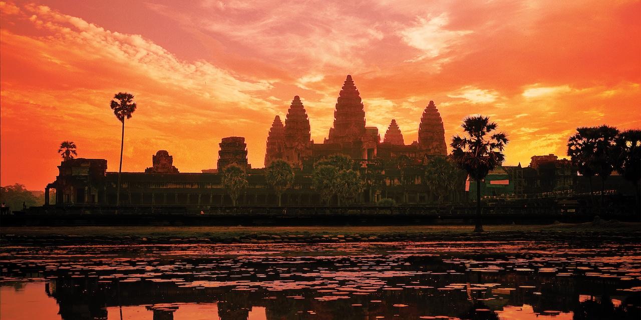 Angkor Archaeological Park at sunset