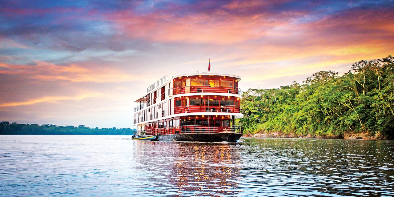 The Anakonda Riverboat cruises down the Amazon River