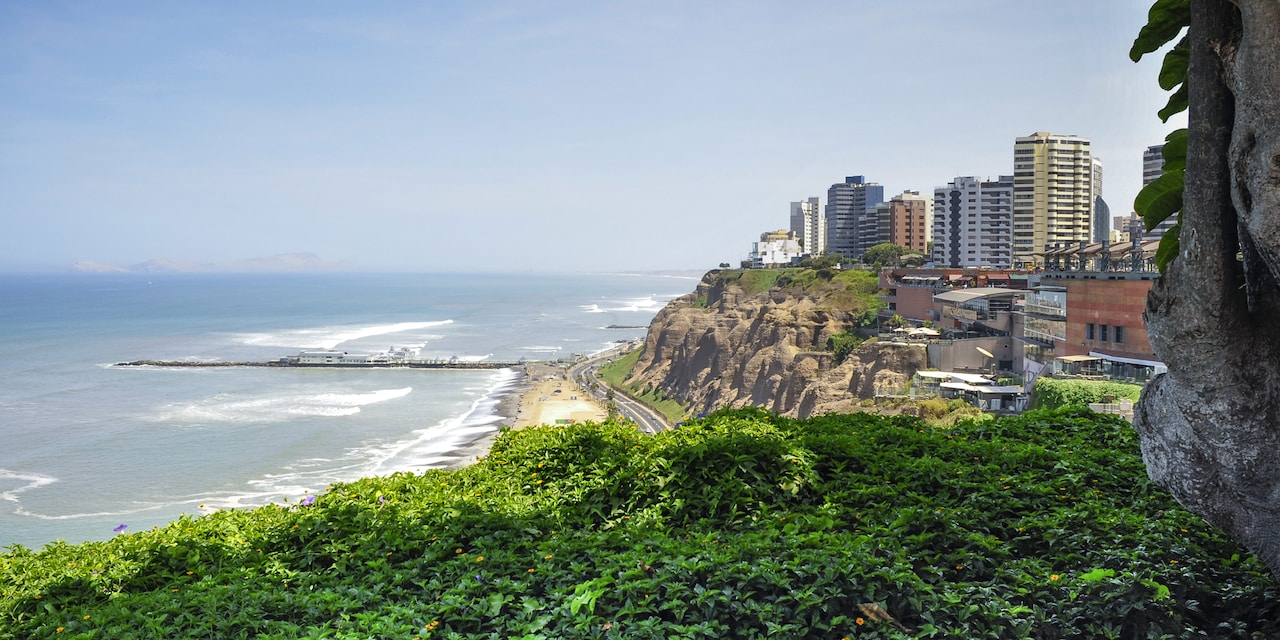 The skyscrapers, cliffs and coastline of Lima, Peru