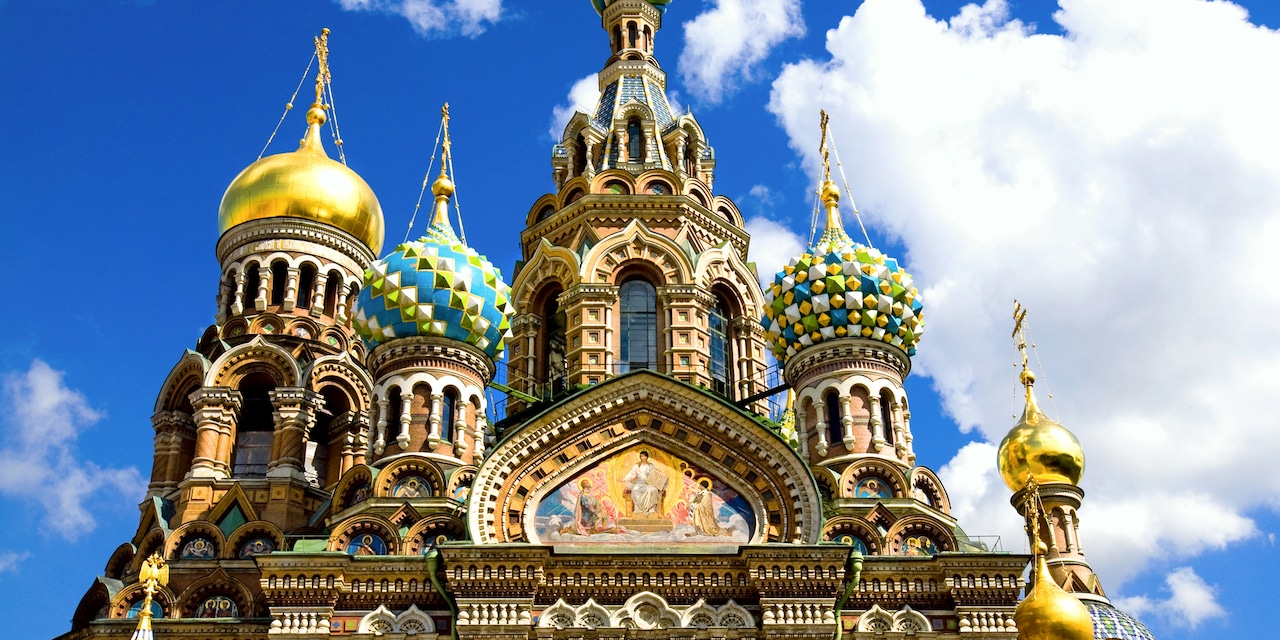 The spired Russian Orthodox Church of the Savior on Spilled Blood in St. Petersburg