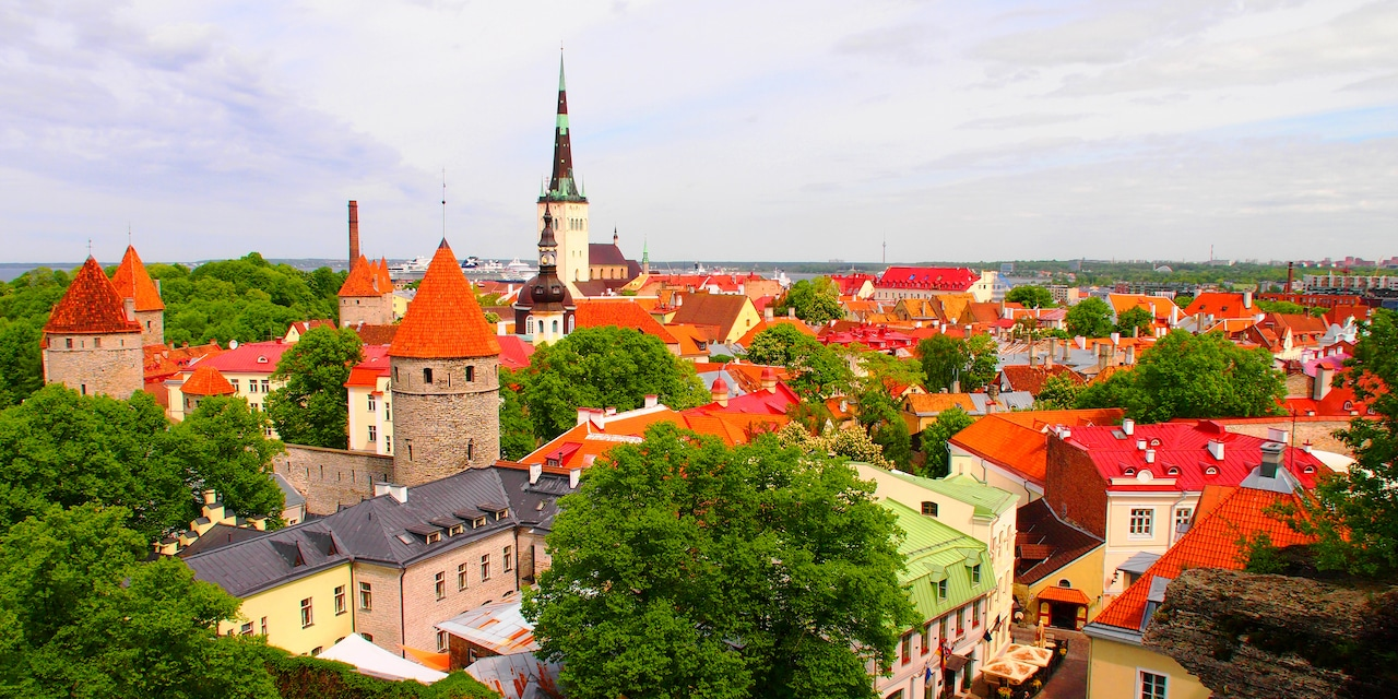 A bird's eye view of a quaint town with tile rooftops and a church spire