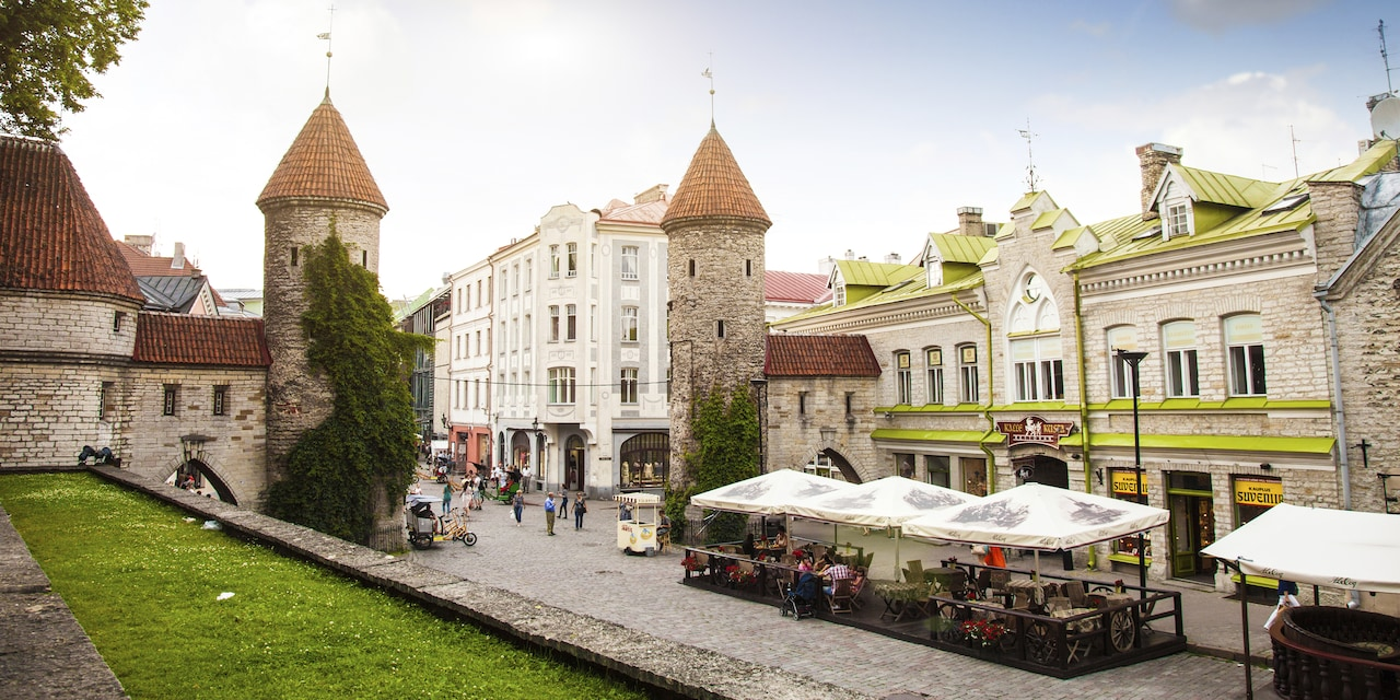 An outdoor market on the street of an old European village