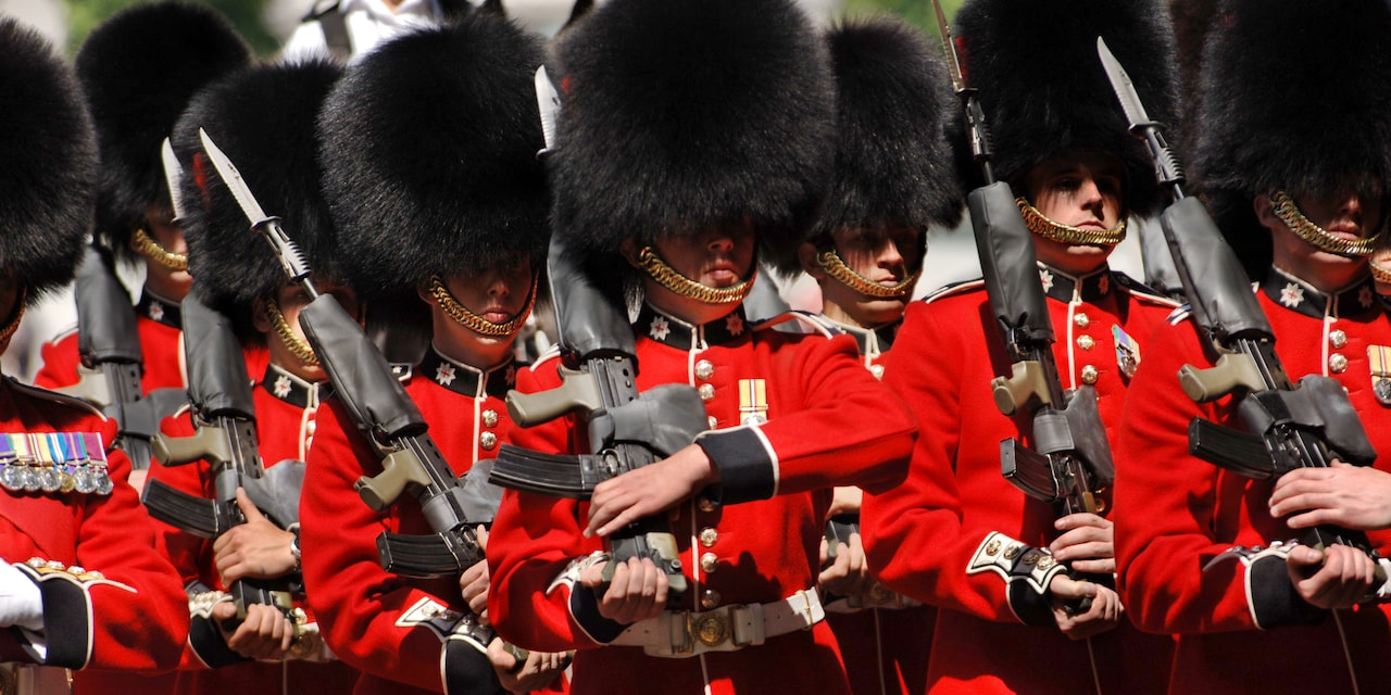 Soldiers of the Guard at Buckingham Palace in full uniform