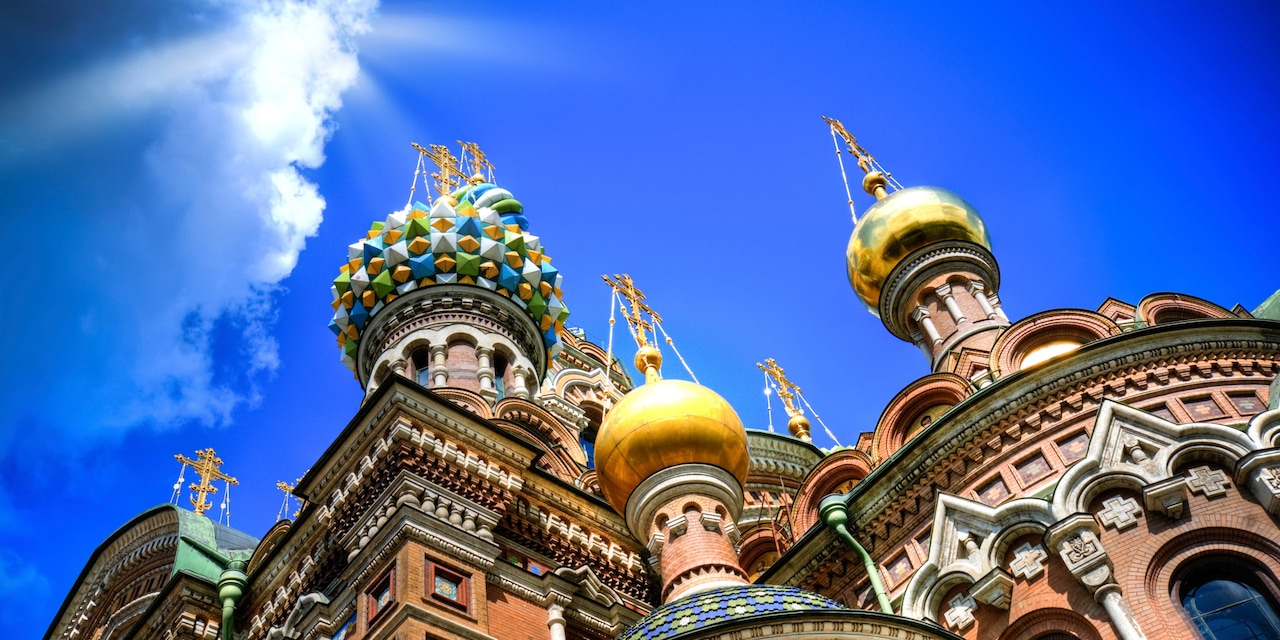 A Russian Orthodox church with ornate designs