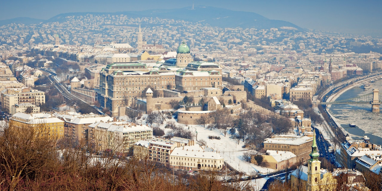 A bird's eye view of Budapest, Hungary in winter
