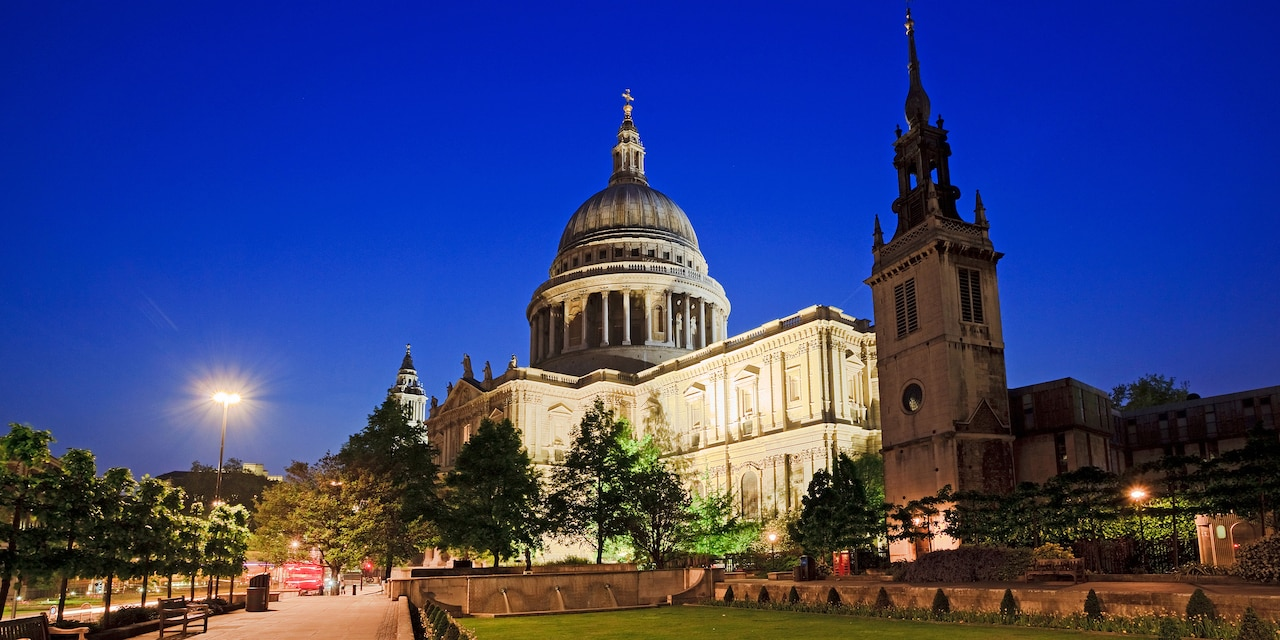 Spotlights illuminate St. Paul's Cathedral