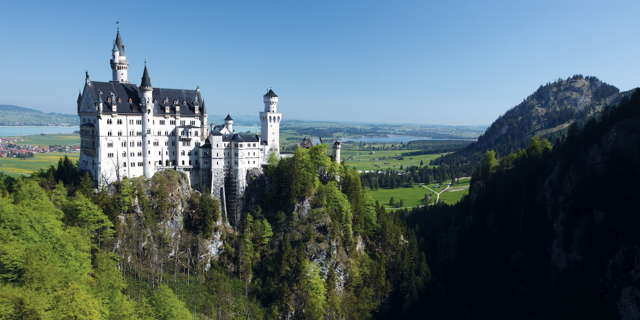 Neuschwanstein Castle atop a steep hill